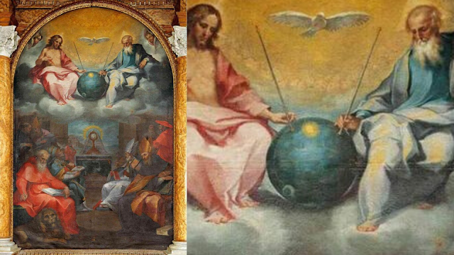 "Ancient-piece-of-art-with-a-UFO-and-antennas-in-it-called-""Glorification-of-the-Eucharist""-painted-by-Bonaventura-Salimbeni-in-1600."