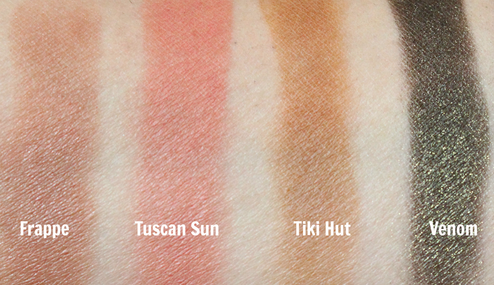 Makeup geek eyeshadows frappe, tuscan sun, tiki hut, venom swatch