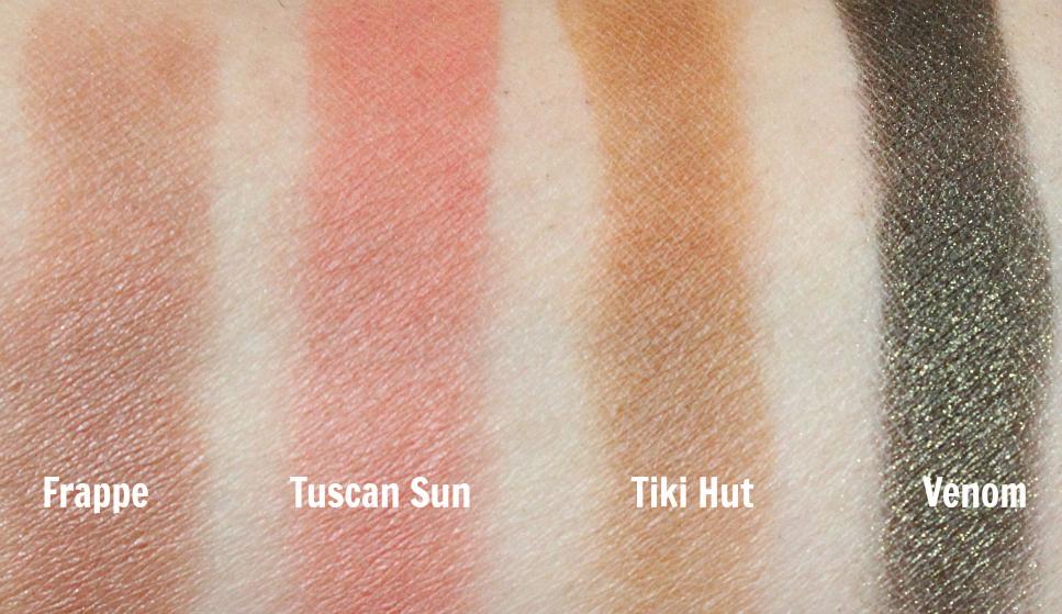 Makeup geek eyeshadows frappe, tuscan sun, tiki hut, venom swatch