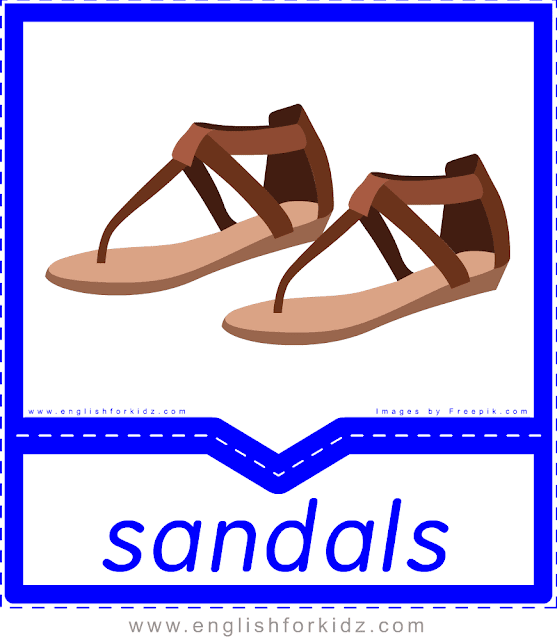 Sandals - English clothes and accessories flashcards for ESL students