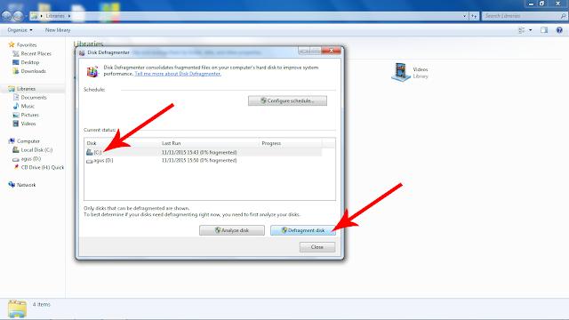 Pilih Disk System biasanya local disk c lalu klik defragment