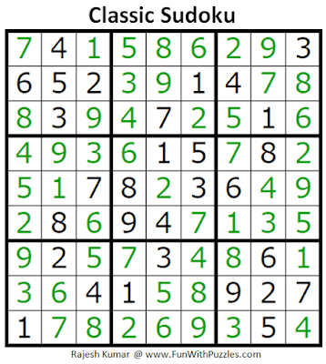 Answer of Classic Sudoku Puzzles (Fun With Sudoku #298)