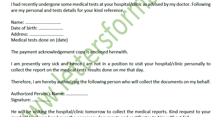 Sample) Authority Letter to Pick up My Medical Result Report