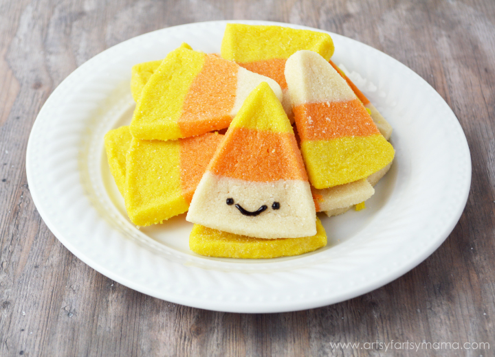 Candy Corn Sugar Cookies Recipe at artsyfartsymama.com