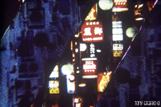 "A frame from Ginza Strip a Richard Tuohy and Dianna Barrie experimental film. Here you can see the ""Chromaflex"" a processing technique developed by the Australian artist."