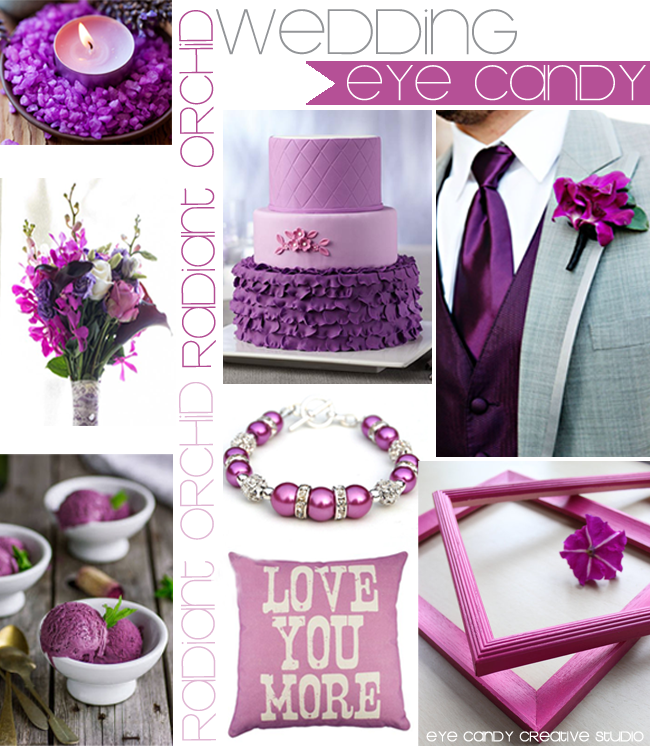 orchid cake, purple flowers, orchid tie, orchid frames, purple ice cream