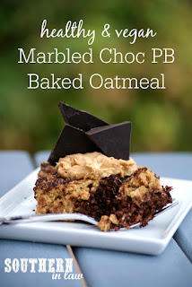 Marbled Vegan Chocolate Peanut Butter Baked Oatmeal Recipe - low fat, gluten free, healthy, vegan, clean eating recipe, healthy breakfast recipes, freezer friendly, make ahead breakfast