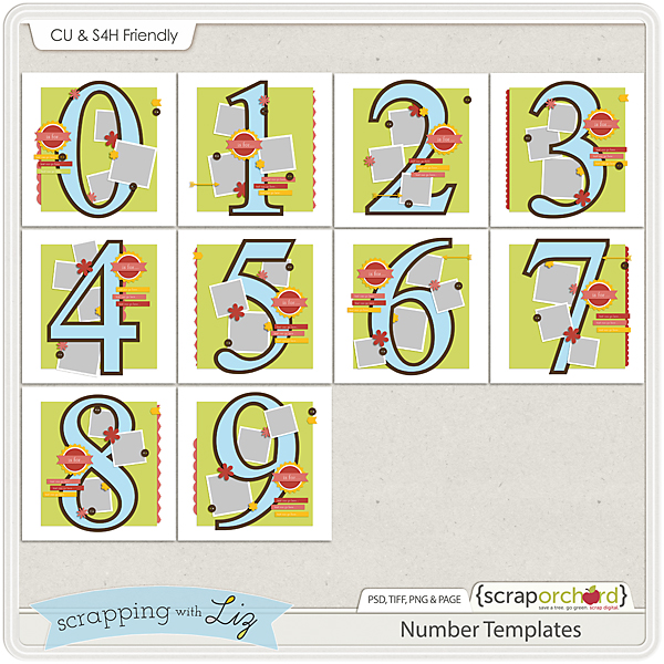 Digital Scrapbook Number Templates 1-9