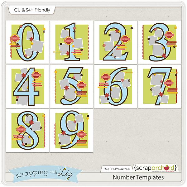 Digital Scrapbook Number Templates 1-9