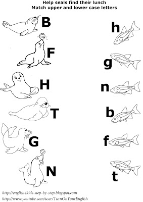 arctic animals matching upper together with lower example letters worksheet