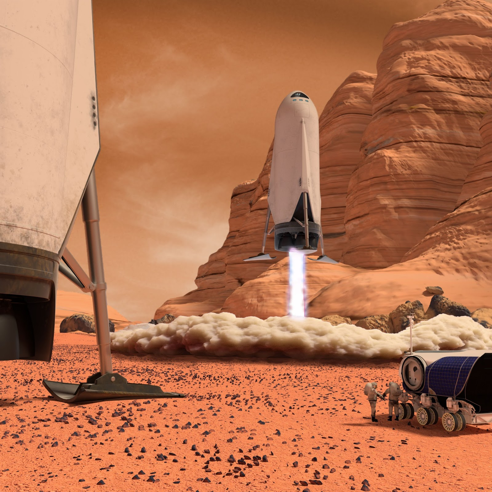 SpaceX downscaled ITS spaceship landing on Mars