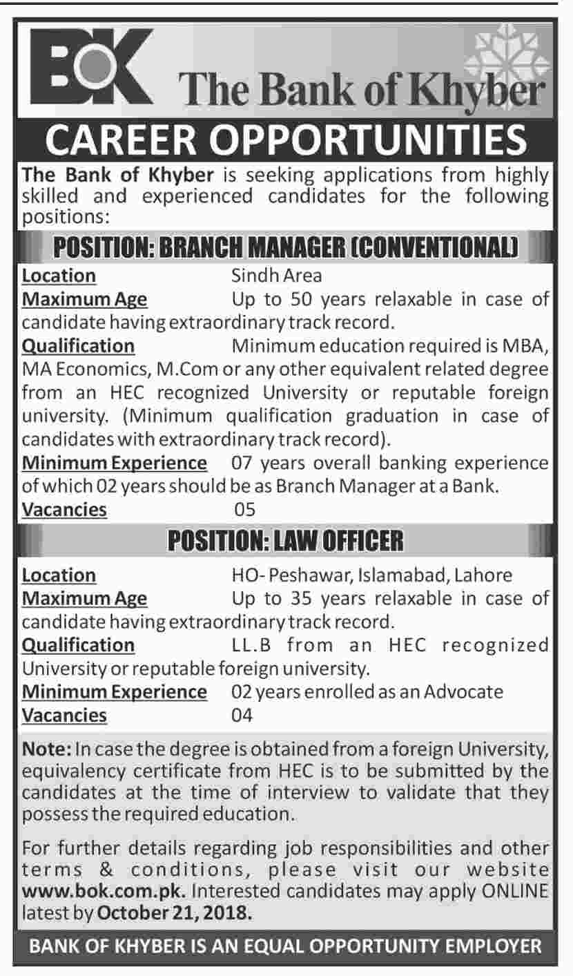 Latest Vacancies Announced in The Bank Of Khyber Islamabad 10 October 2018 Apply Online - Naya Pakistan