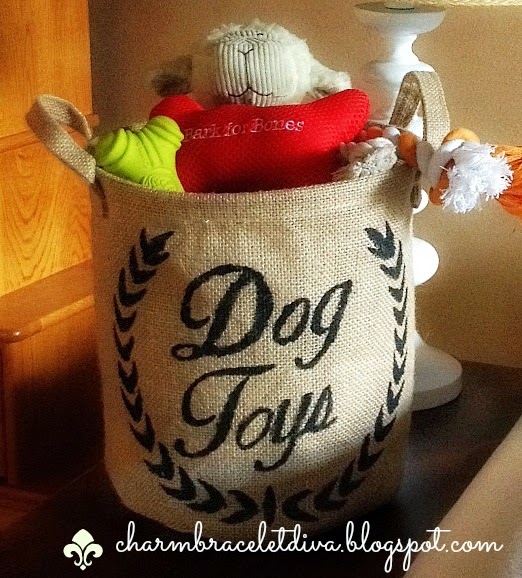 Ballard knock-off burlap bag dog toy storage