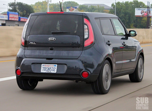 2014 Kia Soul driving on Interstate 94 in Minnesota