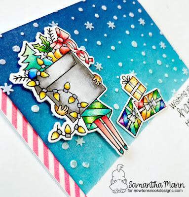Happy Holidays With All the Trimmings Card by Samantha Mann for Newton's Nook Designs, Distress Inks, Holiday, Christmas, embossing paste, stencil, snow, cards #christmas #cards #distressinks #newtonsnook