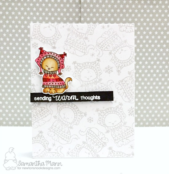 Cat in Sweater Card by Samantha Mann | Sweater Weather Stamp Set by Newton's Nook Designs #newtonsnook
