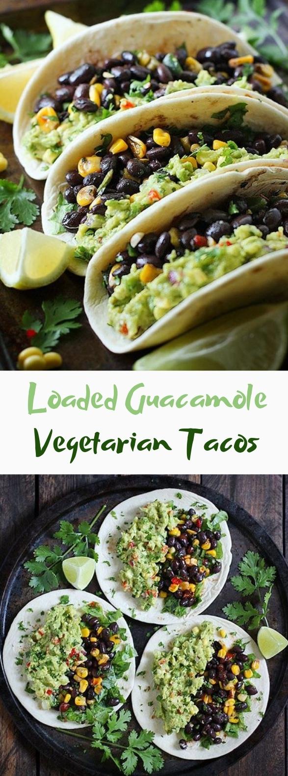Loaded Guacamole Vegetarian Tacos #tacos #vegetarian