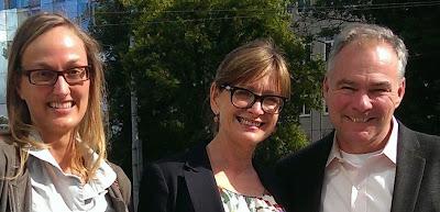 Maya Samara, former Chair, Anne-Shelton Aaron, Chair and Senator Tim Kaine