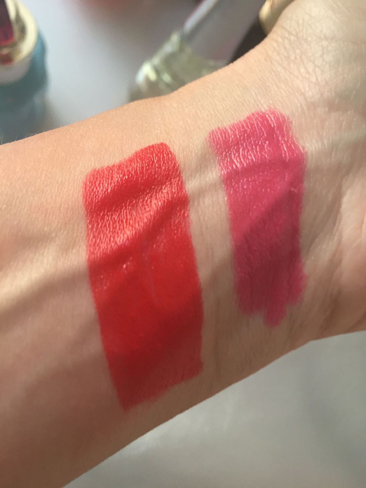 TNS Cosmetics Lipstick Collection review of My Funny Valentine and Sweet Hibiscus swatches on Fashion and Cookies beauty blog, beauty blogger