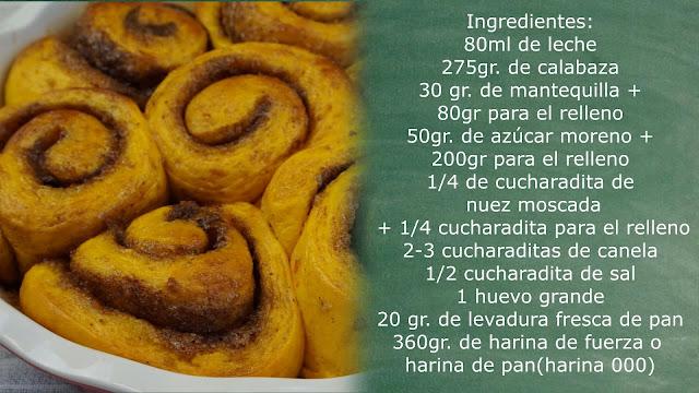 ingredientes de roles de canela y calabaza