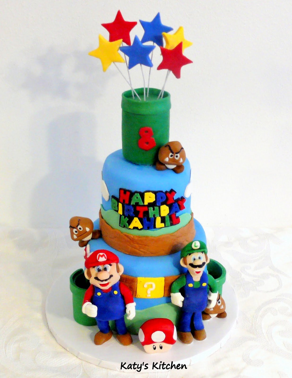 Miraculous Katys Kitchen Super Mario Birthday Cake Personalised Birthday Cards Veneteletsinfo