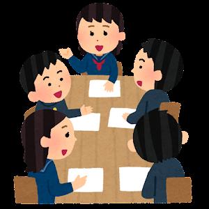 学生の会議のイラスト(学ランとセーラー服・笑顔・男女)