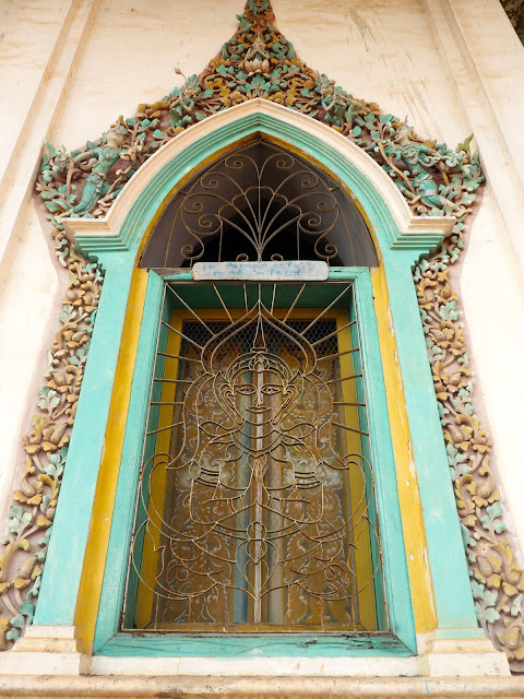 Temple window in Battambang, Cambodia