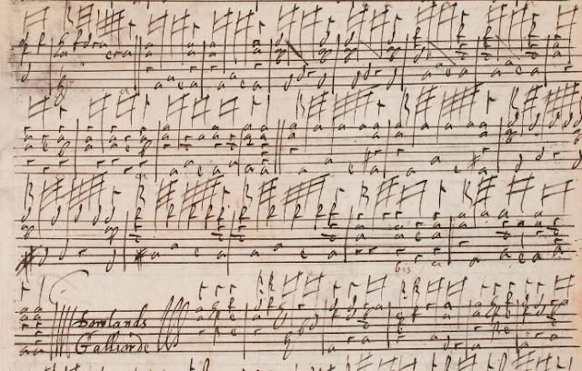 Final bars of Dowland's first galliard from the Matthew Holmes Lute Books