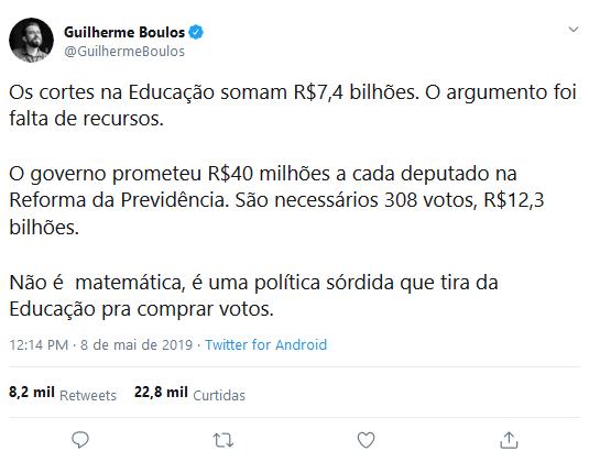 Print do tweet de Boulos