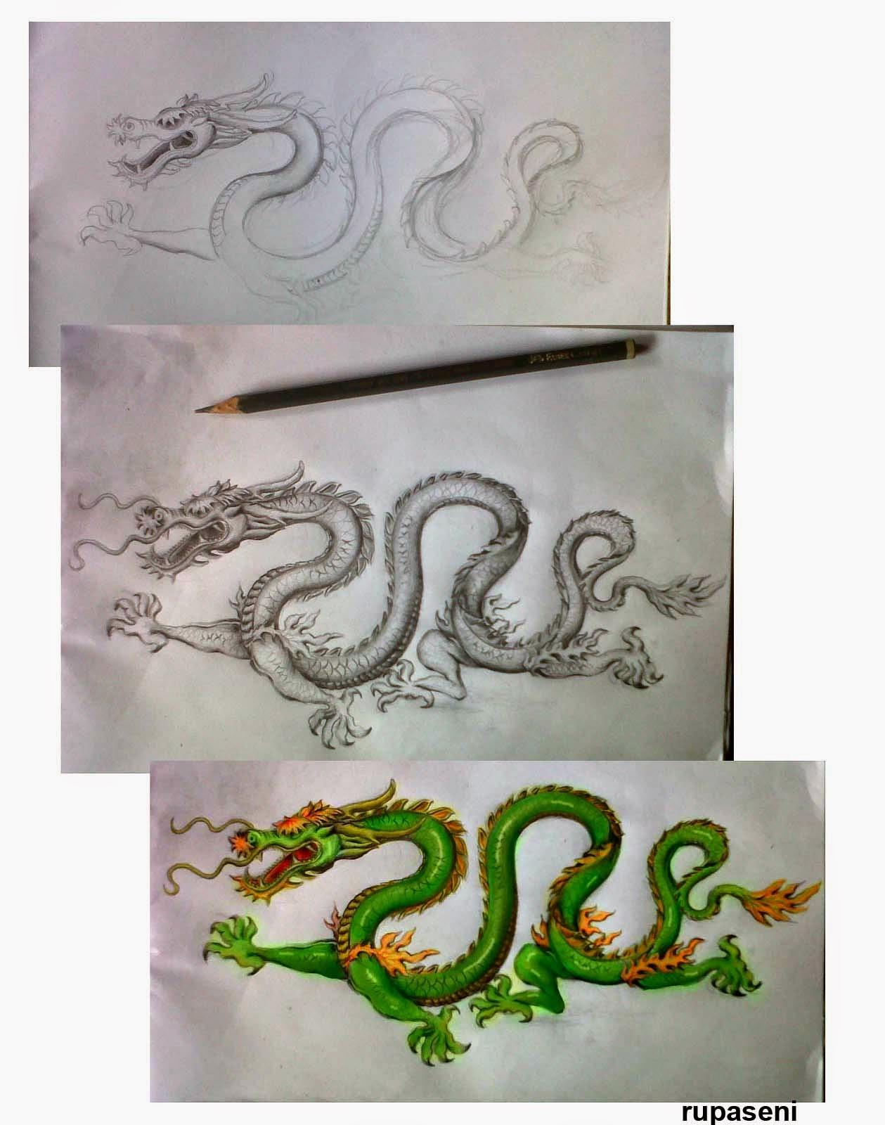 Galeri Sketsa Gambar Naga Bersayap