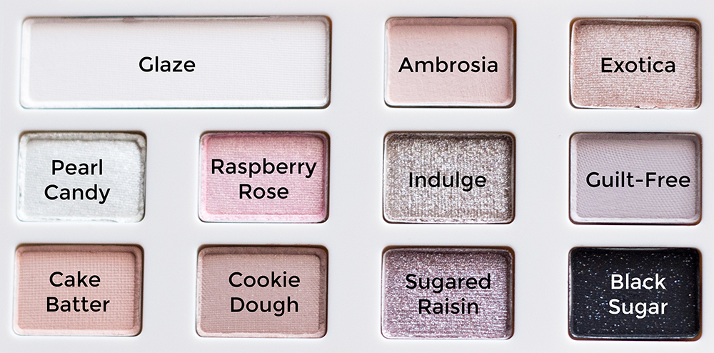 Too Faced White Chocolate Chip Palette Shade Names