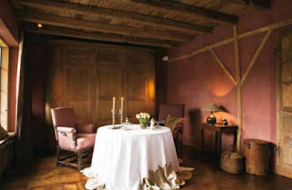 Antique os de mouton Chairs and 18th-century walnut parquet flooring, image via Beta-Plus Publishing's 100 Best Interiors in Colour available in the emporium by linenandlavender.net