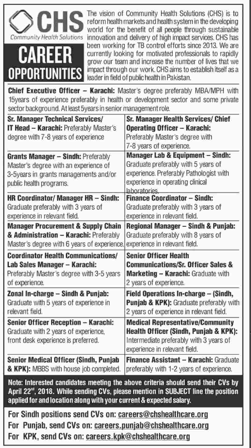 Community Health Solutions in Karachi, Sindh, Punjab,KPK