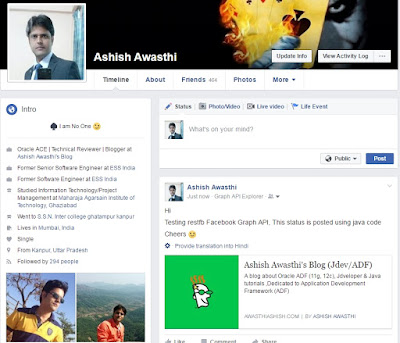 Post Status on Facebook