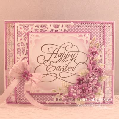 Our Daily Bread Designs Stamp: Flourished Happy Easter,  Our Daily Bread Designs Paper Collections: Easter Card  2016, Pastel Paper Pack 2016, Our Daily Bread Designs Custom Dies: Layered Lacey Squares, Decorative Corners, Bitty Blossoms, Fancy Foliage