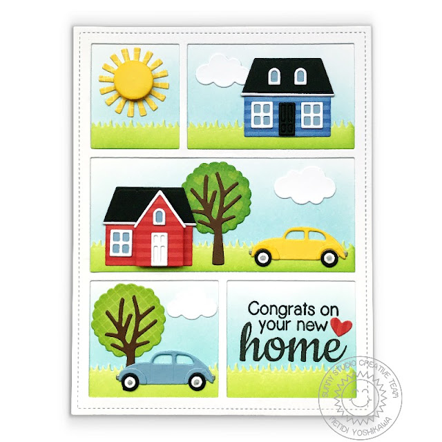 Sunny Studio Stamps: Congrats on your New Home House Card featuring Comic Strip Everyday Dies