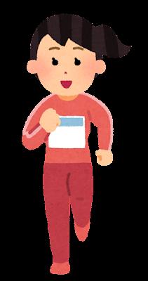 正面から見た走る女性のイラスト(長袖・ゼッケン付き)