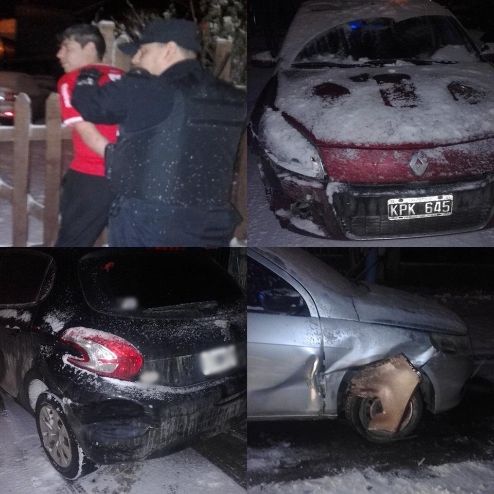 Borracho detenido al chocar autos estacionados