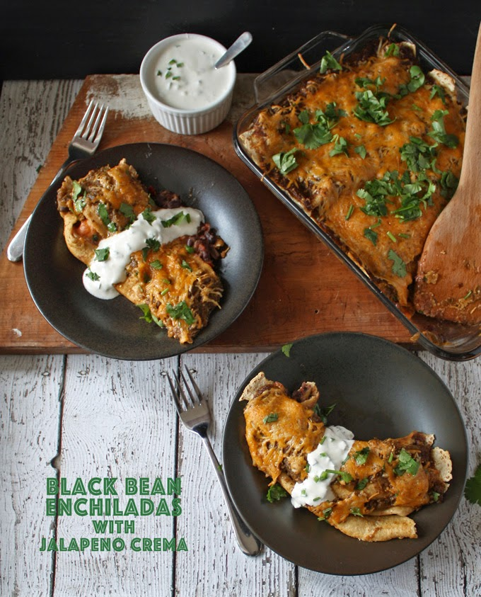 Black Bean Enchiladas with Jalepeno Crema