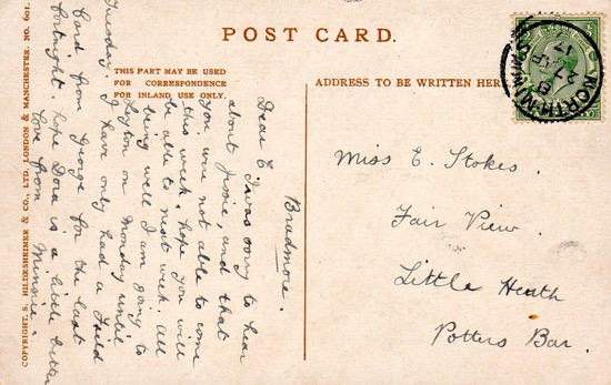 A postcard franked at North Mimms Post Office on April 27, 1917 Image from the Peter Miller Collection