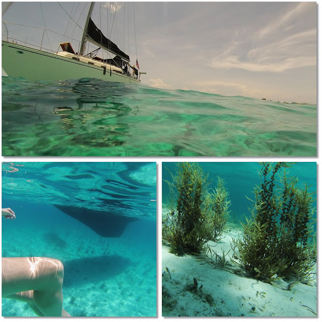 3 image collage. 1. sailboat anchored in swirling turquoise seas. 2 & 3. Images taken underwater of the boat hull.
