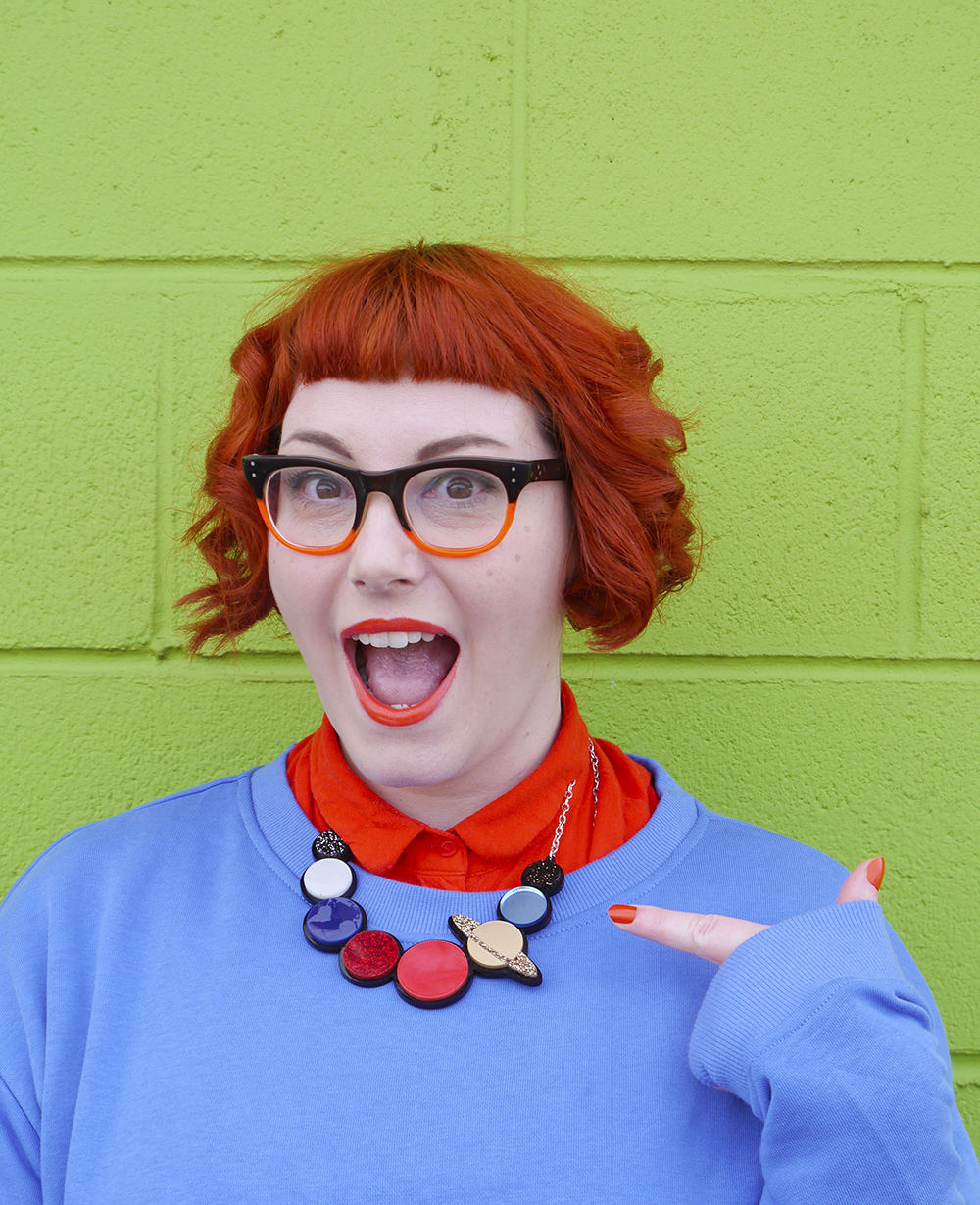 Red haired scottish blogger dresses as Chuckie Finster from Rugrats with vintage glasses and Sugar & Vice planet necklace