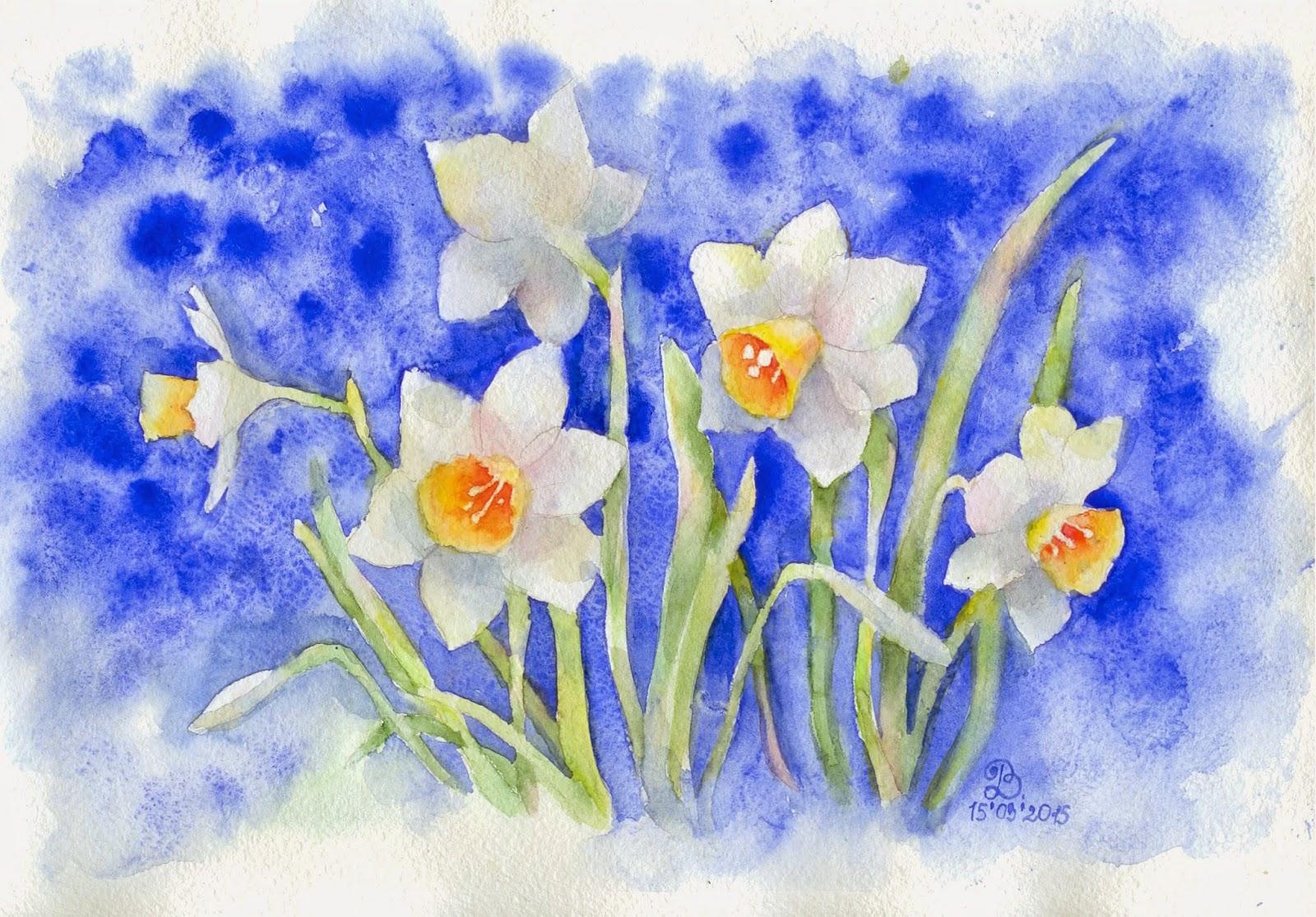 рисунки весенних цветов того, как сок