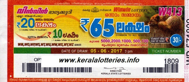 Kerala Weekly Lottery_Win WIn (W-413)