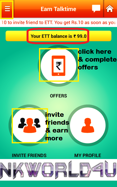 get FREE RECHARGE android APP EARN TALKTIME ETT NKWorld4U