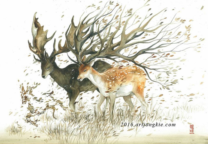 11-Deers-Luqman Reza jongkie-Painting-Fantasy-worlds-with-Flowing-Watercolor-Animals-www-designstack-co