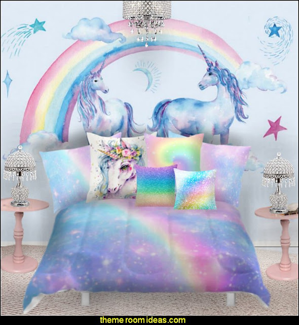 rainbow unicorn bedroom decor - unicorn bedding - unicorn decor - unicorn duvet - fantasy theme bedroom decorating ideas - fairytale bedrooms decor - pegasus decor - unicorn wall murals - unicorn wall decals