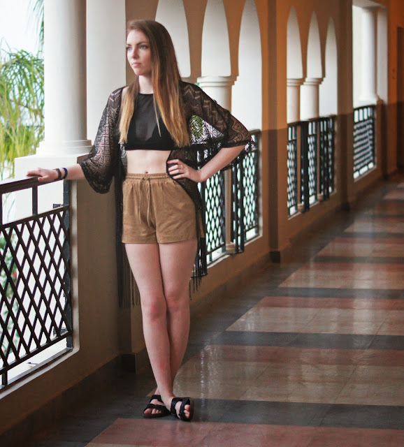 misguided black crop top and suede shorts
