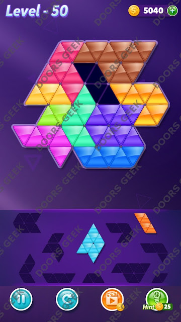 Block! Triangle Puzzle 10 Mania Level 50 Solution, Cheats, Walkthrough for Android, iPhone, iPad and iPod