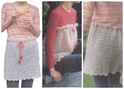Falda delantal cubre pantalón en crochet